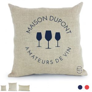 Amateurs de vin coussin Paulin 100% Lin peints à la main made in France