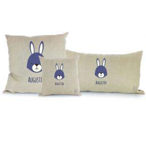 Trois coussins personnalisables lapins