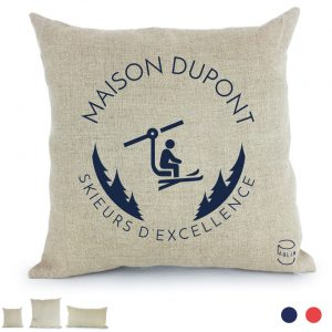 skieurs d'excellence coussin 100%lin Paulin personnalisation