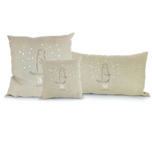 3 coussins marmotte personnalisables Taupe