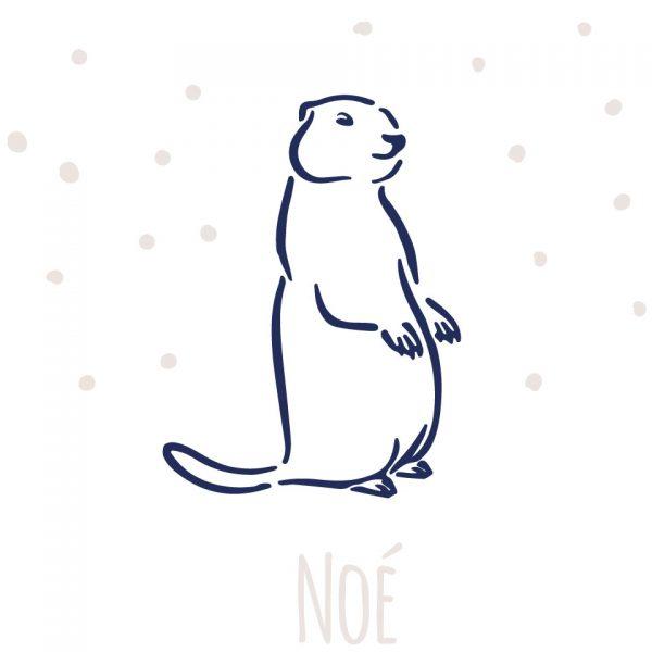 Marmotte coussin personnalisable 100% lin peint à la main Pauln