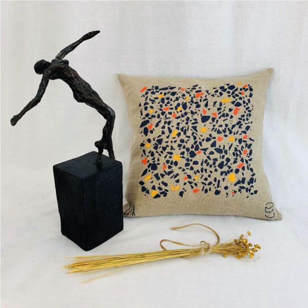 coussin Lin peint à la main Terrazzo made in france