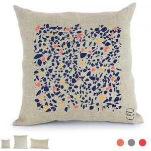 coussin Lin peint à la main Terrazzo made in france