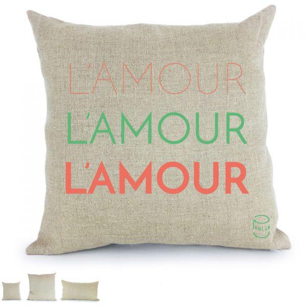 l'amour l'amour l'amour coussin lin peint à la main made in France