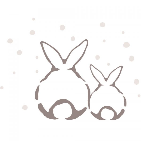 lapin duo sous la neige coussin 100% lin peint à la main fabrication artisanale made in france