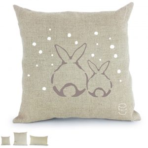 lapin duo sous la neige coussin 100% lin peint à la main fabrication artisanale made in france