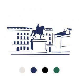 Coussin Paulin peints à la main 100% Lin made in france confection artisanale, place bellecour Lyon