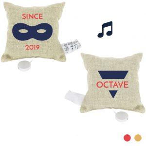 coussin musical personnalisable 100% lin peint à la main petit masqué