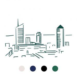 Coussin Paulin peints à la main 100% Lin made in france confection artisanale, vue panoramique tours lyon incita oxygène crayon Lyon