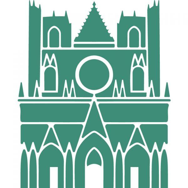 coussin Lin Cathédrale saint-Jean Lyon peint à la main made in france