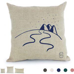 Coussin Paulin peints à la main 100% Lin made in france confection artisanale, hors-piste montagne