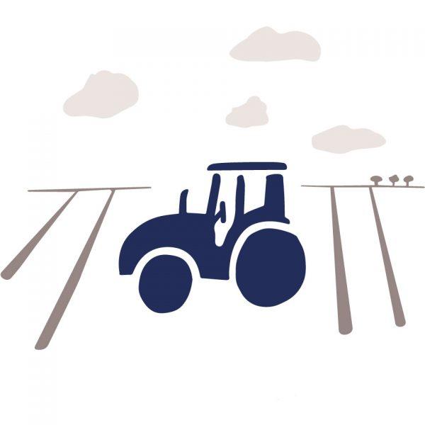 Coussin Paulin peints à la main 100% Lin made in france confection artisanale, tracteur campagne