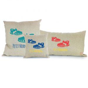 Coussin Paulin peints à la main 100% Lin made in france confection artisanale, les méduses petit normand