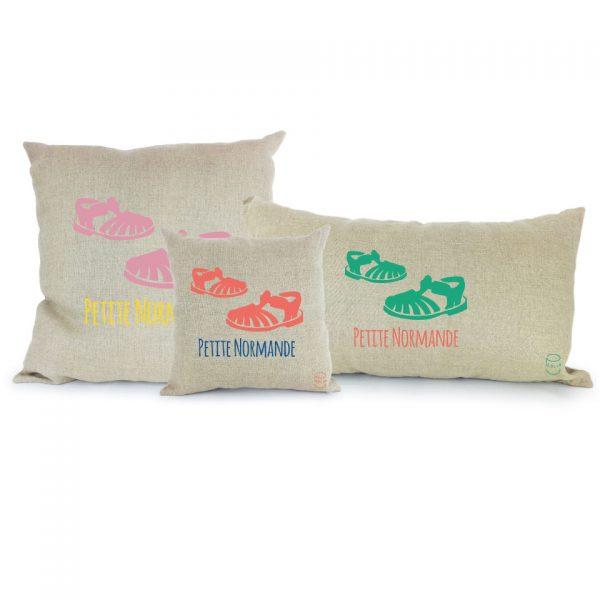 Coussin Paulin peints à la main 100% Lin made in france confection artisanale, les méduses petite normande