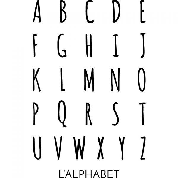 Bannière 100% lin peinte à la main Alphabet abécédaire