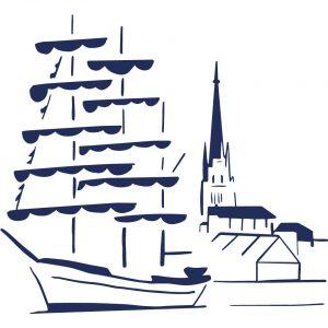 Vieux gréement à quai Armada 2019 Rouen coussin Paulin peint à la main made in france