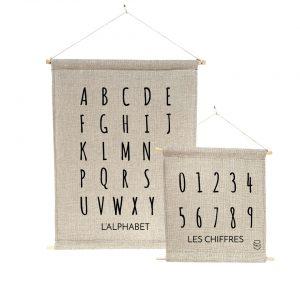 Bannière 100% lin peinte à la main les chiffres Abécédire alphabet