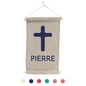 bannière cadeau de baptême 100% lin peint à la main Paulin croix