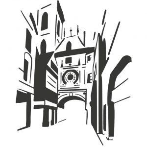 Gros Horloge Rouen coussin Paulin peint à la main made in france