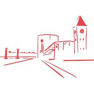 Quai Boisguilebert panorama XXL Rouen coussin Paulin peint à la main made in france