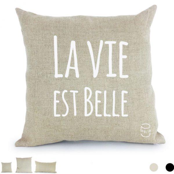 Coussin en lin naturel peints à la main Paulin Lyon Falaises Normandie La vie est belle