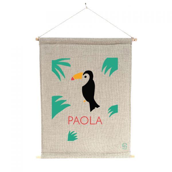 bannière cadeau de personnalisable 100% lin peint à la main Paulin Oiseau tropical