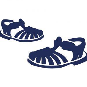 pochette Paulin 100% Lin motif méduses sandales de plage